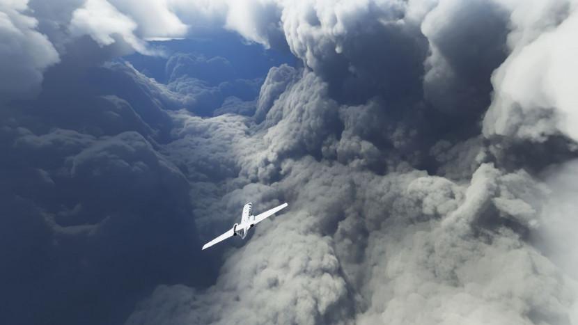 Een orkaan in Microsoft Flight Simulator levert knappe beelden op