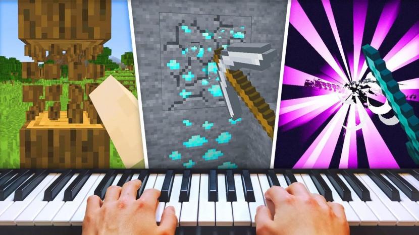 Iemand heeft Minecraft uitgespeeld met een piano als controller