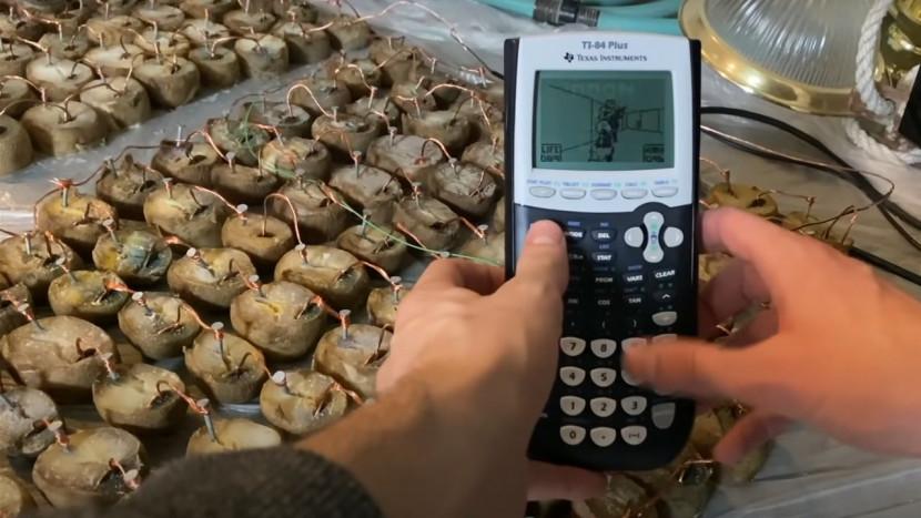 Met 45 kilogram patatten heb je genoeg stroom om Doom op een rekenmachine te spelen