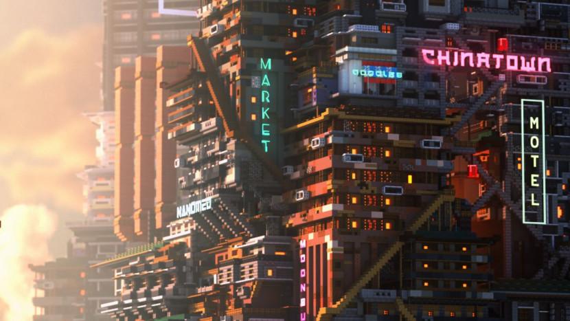 Minecraft speler creëert geweldige cyberpunk scène