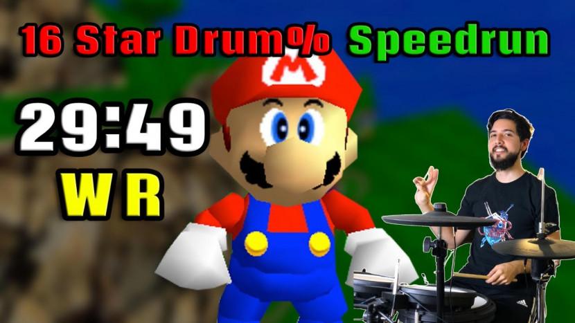Nieuw wereldrecord voor Super Mario 64 met een drumstel