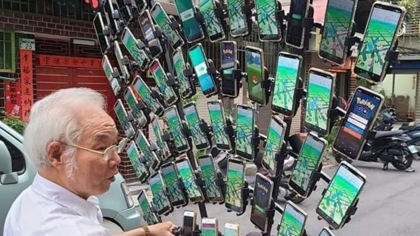 Taiwanese opa speelt nu Pokémon GO met 64 smartphones