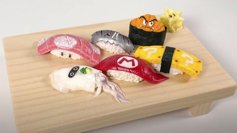 Deze Mario sushi ziet er heerlijk uit, maar eet je best niet op
