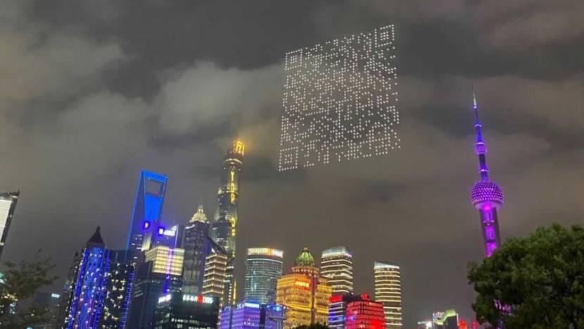 Gamereclame in China: drones vormen gigantische QR-code in de lucht