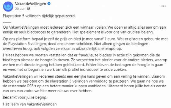 Neen, er werd via VakantieVeilingen geen PS5 verkocht voor 20.000 euro. Maar waarom werd er dan zoveel voor geboden?