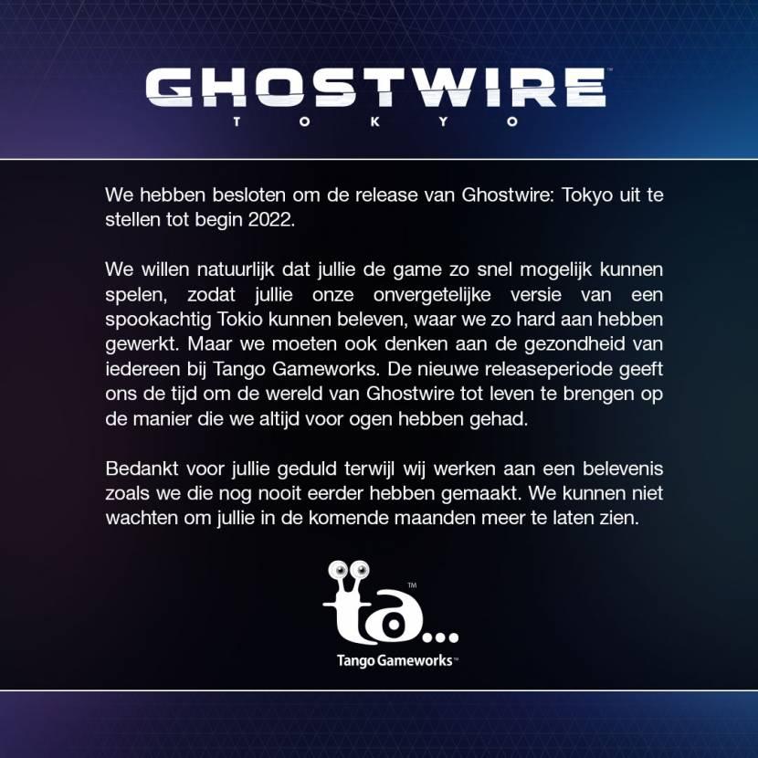 Ghostwire: Tokyo uitgesteld naar 2022