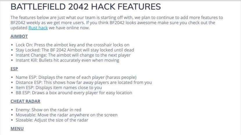 Battlefield 2042 cheats al beschikbaar nog voor game gelanceerd is
