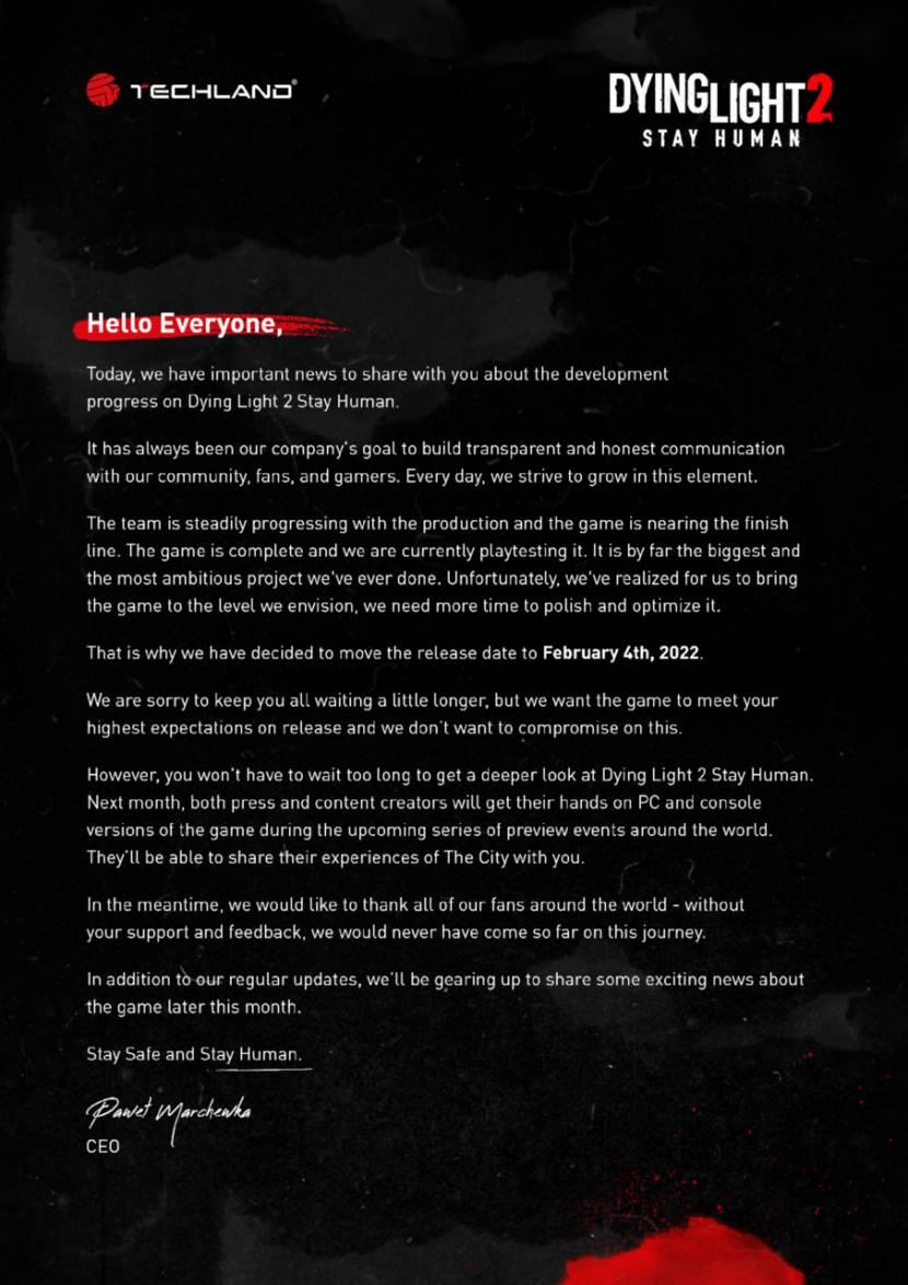 Dying Light 2 verschuift naar 2022